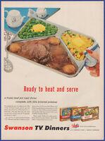 Vintage 1955 SWANSON TV Dinners Beef Turkey Chicken Food Kitchen Decor Print Ad