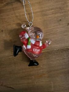 ETHAN Personalized Skating Snowman Ornament GANZ