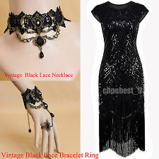 1920s Flapper Dress Gatsby Charleston Sequins Tassels Vintage Party UK Plus Size