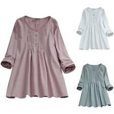 Women Crew Neck Plain Long Sleeve Baggy Loose Tops T Shirt Blouse Tee Plus Size