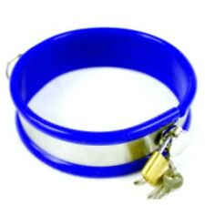 Blue Rubber trimmed Metal collar with lead  (CO-02-BLU),  FREE UK DELIVERY