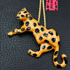 Hot Betsey Johnson Yellow Enamel Cute Panther Pendant Chain Sweater Necklace