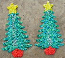 Vintage Christmas Tree Pair 2 Melted Popcorn Wall Window Decor Silver Fleck Mcm