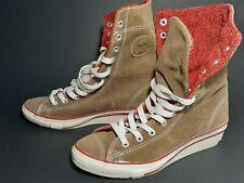Converse All Stars Mid-Calf Hidden Platform Wedge Biege Womens Shoes Size 6