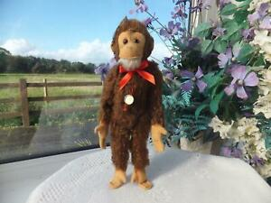 """12"""" Vintage German Mohair Jointed Toy HERMANN MONKEY + Tag Straw Fill Chimp Bear"""