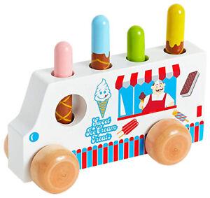 Original Toy Company Solid Hardwood Pop-Up Ice Cream Truck Toy Peg Treats 425530