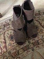 PEDRO GARCIA Womens Dark Brown Suede High  Heel Sandals Sz 37 1/2