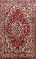 Geometric Traditional Tebriz Vintage Area Rug Hand-Knotted Red Wool 7'x10'