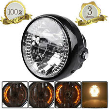 "12V 6.5"" Motorcycle Bike H4 35W Headlight Turn Signal Light Amber Lamp Universal"