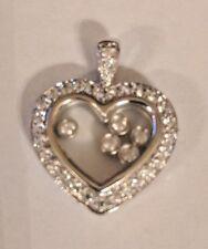 Sterling Silver 925  Heart Pendant ,Cubic Zirconia Stones