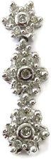 14K White Gold 3 Flower Diamond Charm Necklace Pendant ~ 2.7g