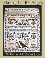 Waiting for the Angels antique sampler,cross stitch chart,10pgs,color & symbols