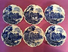 6 Small Blue And White Plates - Eden Pattern - Thomas Hughes And Son - England