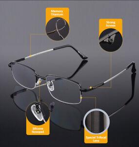 Progressive Multifocal Reading Glasses for Men Blue Light Blocking Titanium Arm