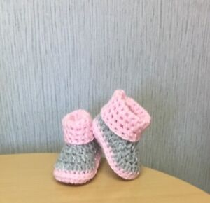 HANDMADE CROCHET BABY FIRST SHOES BOOTIES WOOL CASUAL BOOTS SLIPPERS