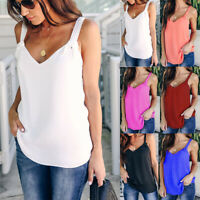 Womens Summer Strappy Vest Tops Ladies Casual Sleeveless Cami Blouse T-Shirts