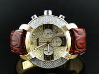 Mens Aqua Master Jojo Jojino Joe Rodeo Brown Leather 2 Tone Diamond Watch W#96