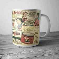 Vintage Folgers Coffee Advertising Magazine Comic Ad on NEW Funny Coffee Mug Cup
