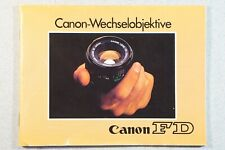 Canon-Wechselobjektive Objektiv FD, Anleitung, 60 S., ordentlicher Zustand