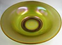 Antique Fenton Iridescent Russet Green Art Glass Center / Bride's Bowl 10.5""