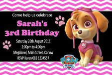 Personalised Skye Paw Patrol  Invitations