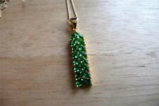 SIMULATED GREEN TSAVORITE GARNET 925 STERLING SILVER GOLD PENDANT NECKLACE 18INS