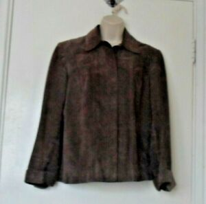 Marks and Spencer LINED Brown Suede Jacket/Blouse Size 12 USED Good condition