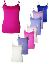 Ladies Plain Cotton Vest Top Stretchy Cami Womens Strappy Camisole Tops 8-18