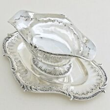 QUEILLE 19c Antique French Sterling Silver Sauce Gravy Boat Bowl Rococo Embossed