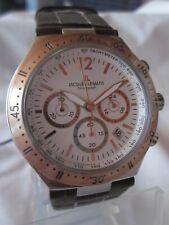 Jacques Lemans Edelstahl Herren Uhr Chrono Modell Dover 1-1837E Lederband
