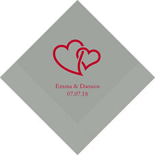 300 Linked Double Hearts Personalized Wedding Luncheon Napkins