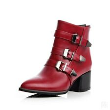 Hottest Women's Ankle Boots Block Med Heels Pointed Toe Buckles Back Zip Shoes