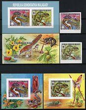 Madagaskar 1988 Vögel Chamäleon Reiher 1114-1115 Block 73-75 B Ungezähnt MNH/717
