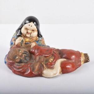 DARUMA OTAFUKU Knee Pillow Statue KUTANI Ware  Japanese Antique Porcelain Art