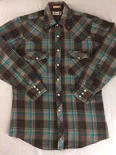 Vintage Roebucks Western Shirt Pearl Snap Brown Plaid Acrylic Men Size M