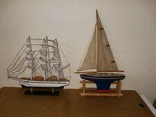 ancien BATEAU DE BASSIN VOILIER (Nova, Borda, Tirot ?) + voilier déco en bois