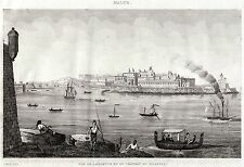MALTA: La Valletta: Panorama. Melita. Steel Engraving.ACCIAIO.Stampa Antica.1838