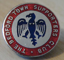 BEDFORD TOWN FC Vintage SUPPORTERS CLUB badge Brooch pin in chrome 24mm x 24mm