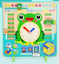 Kid Toddler Montessori Educational Toy Wooden learning calendar clock puzzle