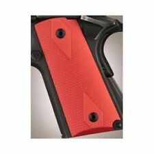 Hogue Colt 1911 Officer Grips Aluminum Checkered Flat Matte Red Anodized
