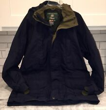 Vintage Orvis Gore-Tex Men's Hooded Parka Rain Jacket Field Coat Navy Medium