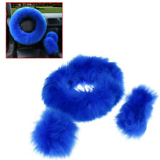 3PCS Fur Wool Car Steering Wheel Cover Thick Furry Fluffy Warm Winter Gem Blue