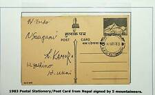 NEPAL 1983 POSTAL STATIONERY POST CARD SIGNED BY 5 MOUNTAINEERS