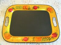 Antique American Hand Painted Fruit Folk Art Metal Gold Black Serving Tole Tray