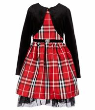 Rare Editions Big Girls Holiday Christmas Plaid Dress & Black Velvet Bolero 16