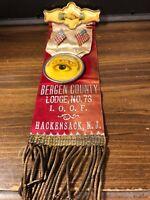 Vintage 1893 I.O.O.F. Bergen County Lodge No 73 Hackensack NJ PINBACK RIBBON