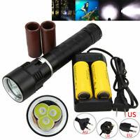 1000LM Diving Torch Scuba 18650/26650 100m LED Waterproof T6 3x XML Flashlight