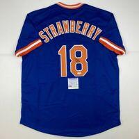 Autographed/Signed DARRYL STRAWBERRY New York Blue Baseball Jersey PSA/DNA COA