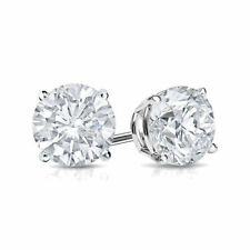 1 Ct Diamond Stud Earrings 5MM Round Diamond Solitaire Earrings 14k White Gold