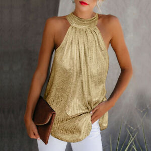 Fashion Womens Halter Neck Tank Tops Shirts Casual Sleeveless Sequined T shirts